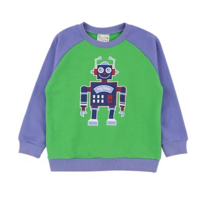 愛的世界-SUPERKIDS-純棉機器人拚色長袖上衣-10-12歲