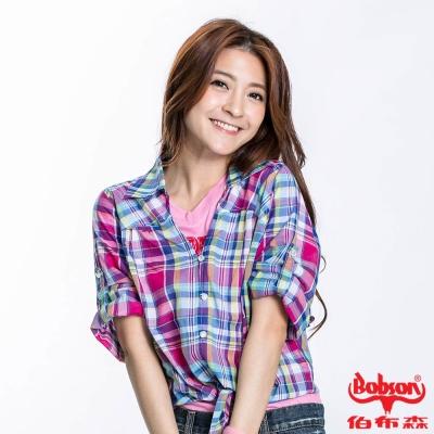 BOBSON 女款綁結格子短袖襯衫(紫紅23133-15)