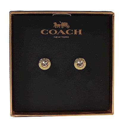 COACH 圈圈logo水鑽經典耳環(金)