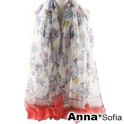 AnnaSofia-古典紛花-巴黎紗披肩圍巾-紅系