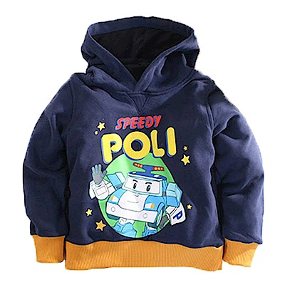 POLI厚刷毛連帽長袖T恤 藍 k60552