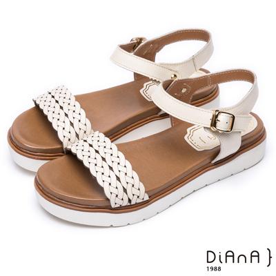 DIANA 夏日約會--雷射編織紋真皮厚底涼鞋 –米