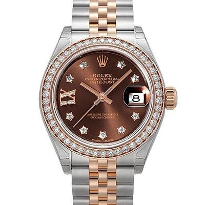 ROLEX 勞力士Datejust 279381蠔式玫瑰金鑲鑽鑽圈腕錶x巧克力x28mm