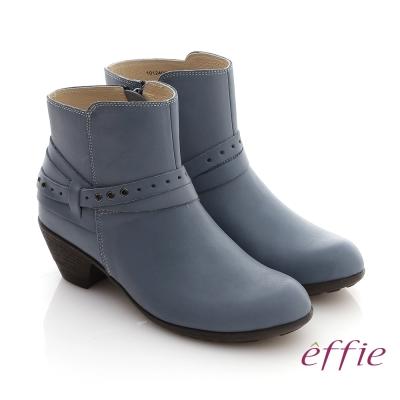 effie 城市漫遊 全真皮素面雙孔造型拉鍊短靴 藍色