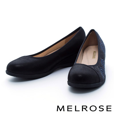 MELROSE-異材質拼接晶鑽圓頭楔型娃娃鞋-黑