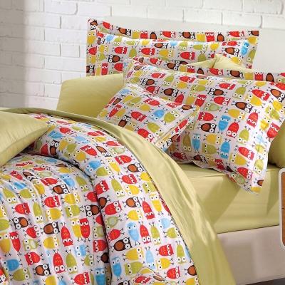 GOLDEN-TIME-貓頭鷹派對-綠-精梳棉-特大四件式薄被套床包組