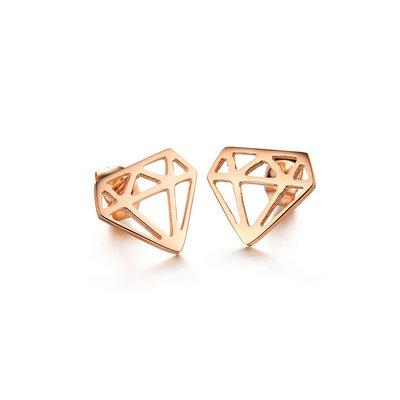 ACUBY-鋼製鑽石型耳環