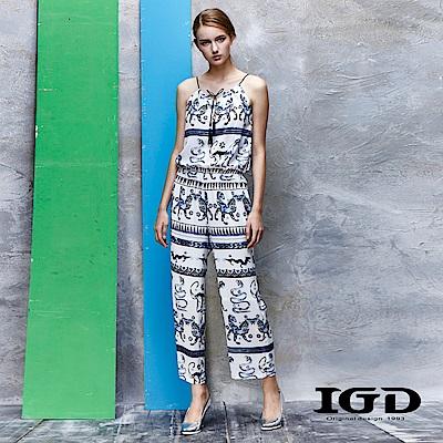 IGD英格麗 手繪感印花削肩連身褲