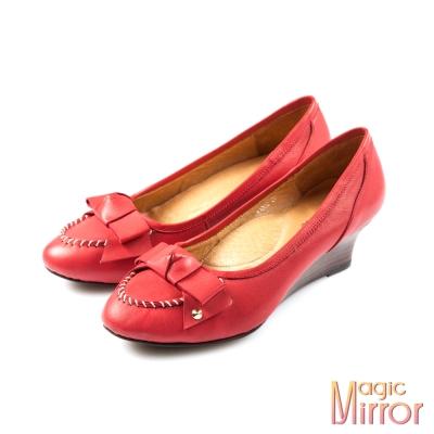 Magic-mirror-都會經典-英式蝴蝶結車線真皮楔型鞋-櫻桃紅