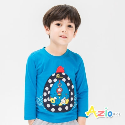Azio Kids 童裝-上衣 趣味娃娃機長袖棉T(藍)