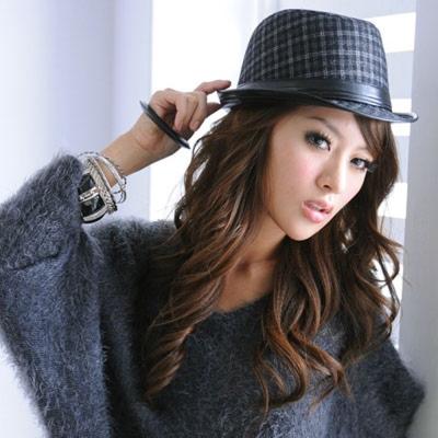 Aimee-Toff-格紋率挺氣質造型紳士帽-灰黑