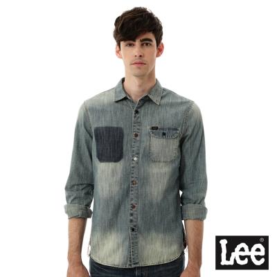 Lee 牛仔襯衫 深淺色塊 -男款-中古淺藍