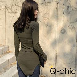 正韓 開衩斜下擺柔感長版上衣 (共二色)-Q-chic