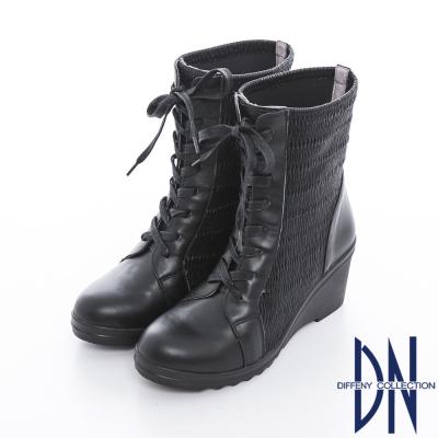 DN 明星穿搭 嚴選全真皮鬆緊綁帶楔型靴 黑