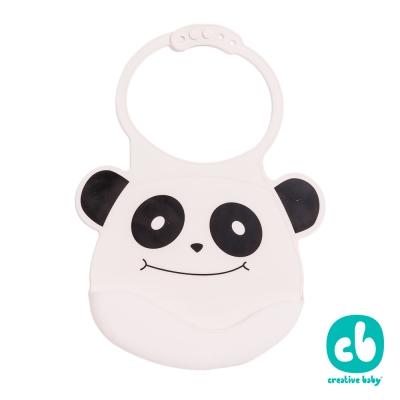 Creative Baby可收納式攜帶防水無毒矽膠學習圍兜-微笑熊貓