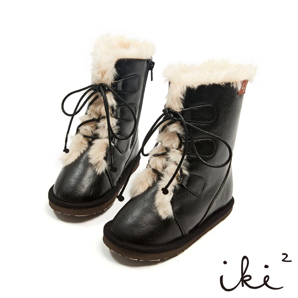iki2童鞋-課後遊樂園系列-愛斯基摩毛毛滾邊繫帶側拉鍊中筒暖暖靴-酷甜黑