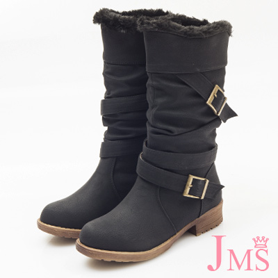 JMS-自然抓皺2WAY內刷毛可翻摺工程中靴-黑色