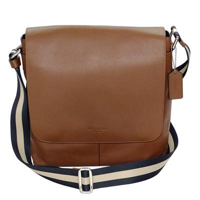 COACH摩卡色全皮內釦式夾層袋翻蓋方型斜背男包