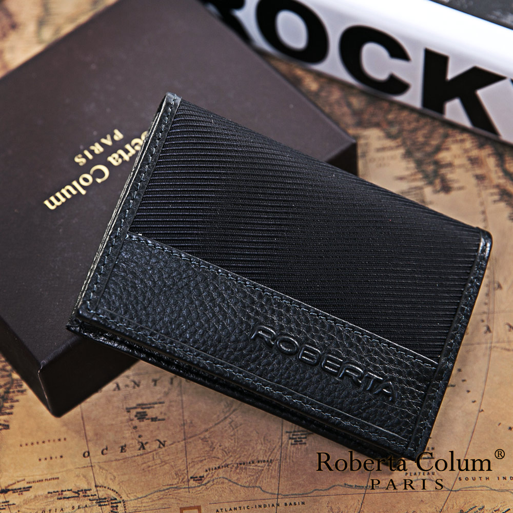 Roberta Colum - 雅痞時尚系牛皮款隨身名片夾-黑