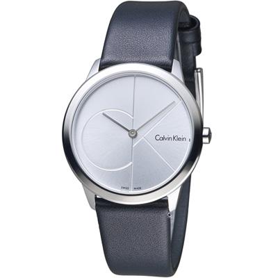 Calvin Klein minimal大ck簡約時尚腕錶-白x皮35mm
