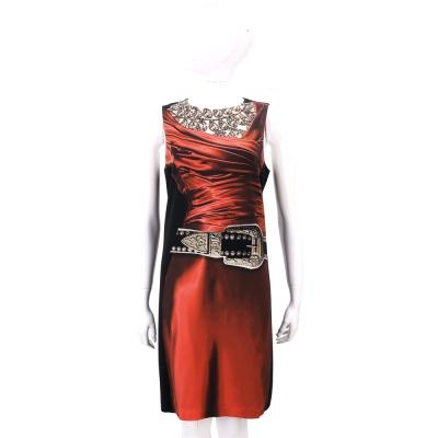 MOSCHINO 絲滑感鑽石洋裝圖印無袖洋裝
