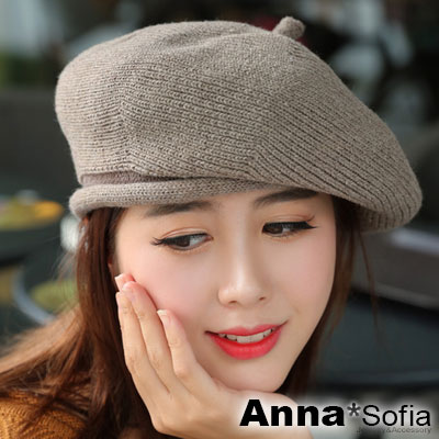 AnnaSofia 立體細波層線 混羊毛畫家帽貝蕾帽(褐卡其系)