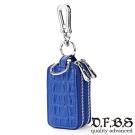 DF BAGSCHOOL皮夾 - 奔馳經典牛皮鱷魚壓紋鑰匙包-藍色