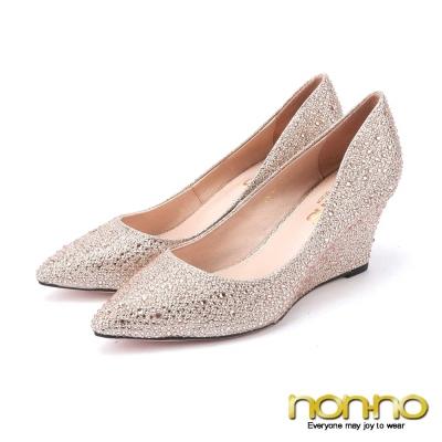 nonno-閃耀派對-滿版水鑽尖頭楔型高跟鞋-杏