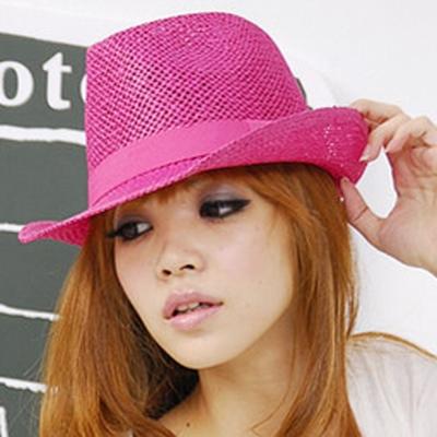 Aimee Toff 緞帶編織草帽(桃)