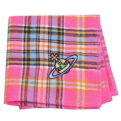 VIVIENNE WESTWOOD 品牌圖騰LOGO刺繡蘇格蘭紋小方巾(粉紅底)