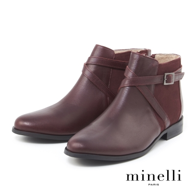 Minelli--飾帶點綴真皮低跟踝靴-質感紅