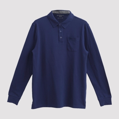 Hang Ten - 男裝 - 經典美式純色口袋POLO衫 - 藍