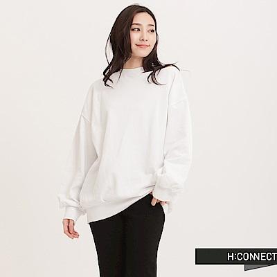 H:CONNECT 韓國品牌 女裝 - 肩鏤空澎袖大學T - 白