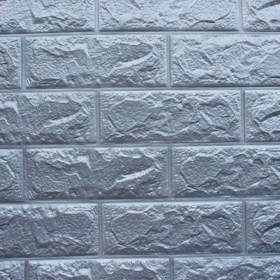 3D立體泡棉磚紋壁貼1片(鐵灰)