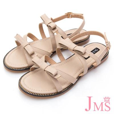 JMS-清新微甜線條雙蝴蝶結平底涼鞋-米色