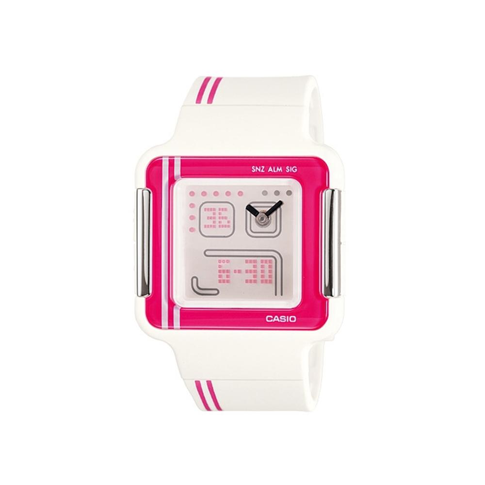 CASIO Poptone 潮流電玩概念數位錶(LCF-21-4)-紅框/35.8mm