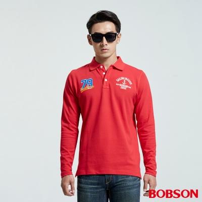 BOBSON  男款繡標POLO紅色上衣