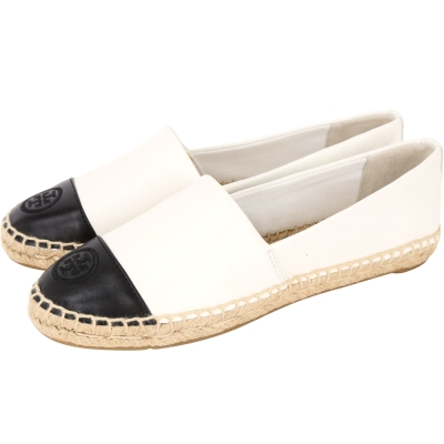 TORY BURCH COLOR-BLOCK 黑白牛皮拼接麻編平底鞋