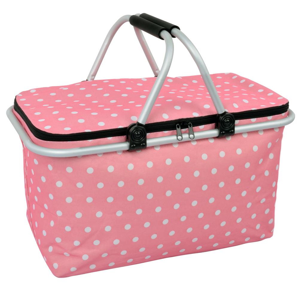 LIFECODE 點點風 鋁合金折疊保冰袋 野餐提籃 粉紅色