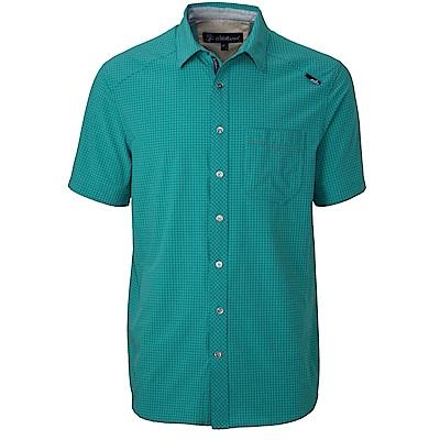 【Wildland 荒野】男四彈格子布抗UV短袖襯衫綠
