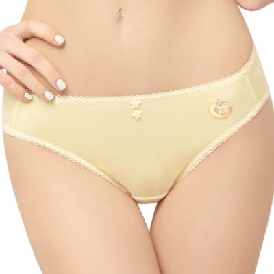 思薇爾 守護星自由風系列M-XL素面低腰三角內褲(淺黃色)