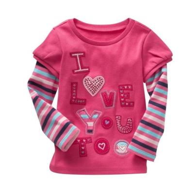 歐美風 條紋英文  女童純棉長袖T恤