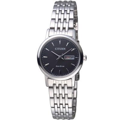 CITIZEN 星辰 知性美學光動能時尚腕錶(EW3250-53E)-黑/27mm