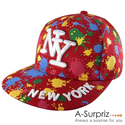 A-Surpriz 噴墨藝術塗鴨NY棒球帽(狂野紅)