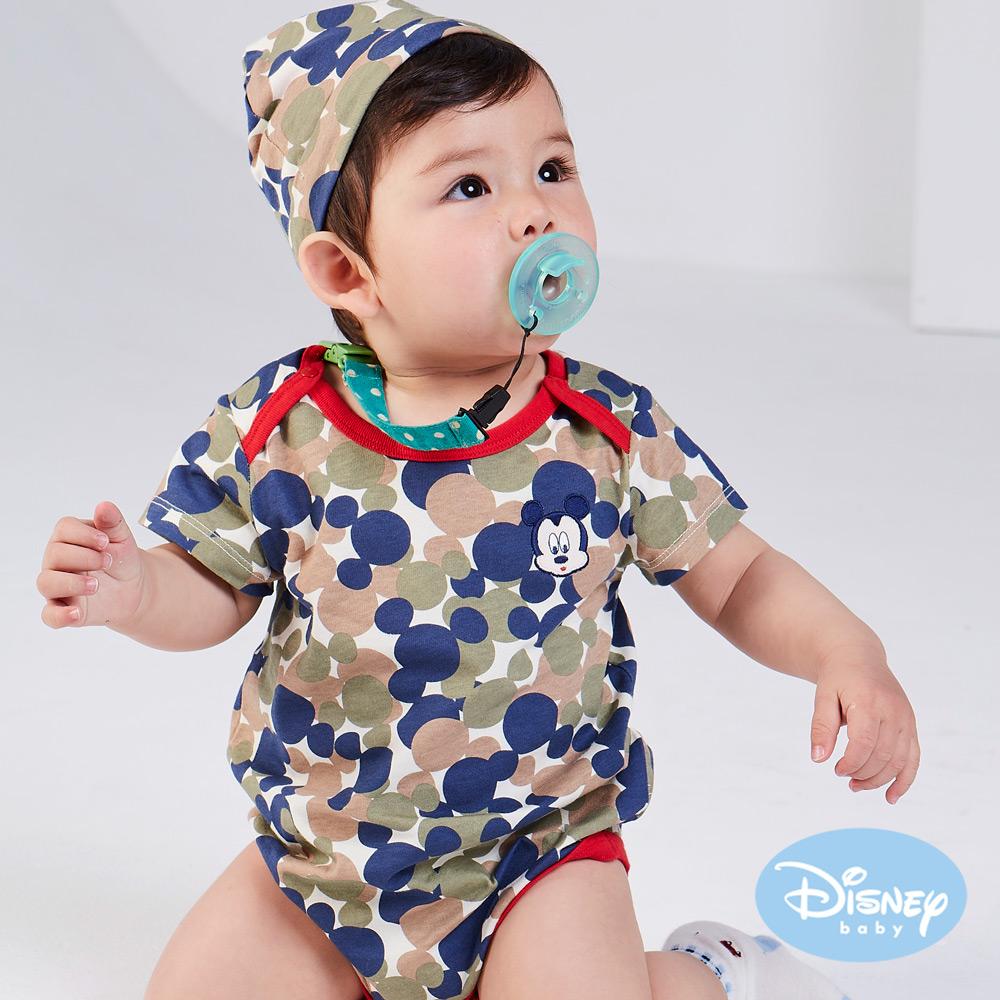 Disney Baby 雲朵米奇包屁衣附彈性帽 綠色