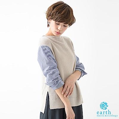 earth music 特色拼接袖針織上衣