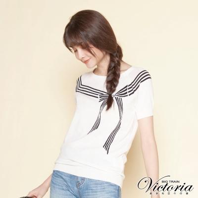 Victoria 緹織蝴蝶結拉克蘭短袖線杉-女-白色