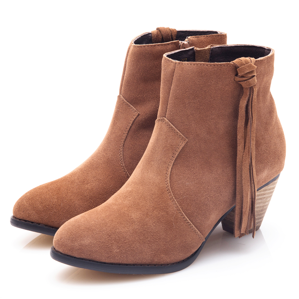 G.Ms. 牛麂皮流蘇高粗跟短靴-駝色