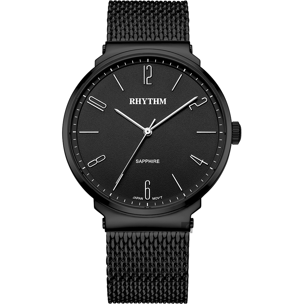 RHYTHM 日本麗聲 日系潮流米蘭帶手錶-IP黑/41mm