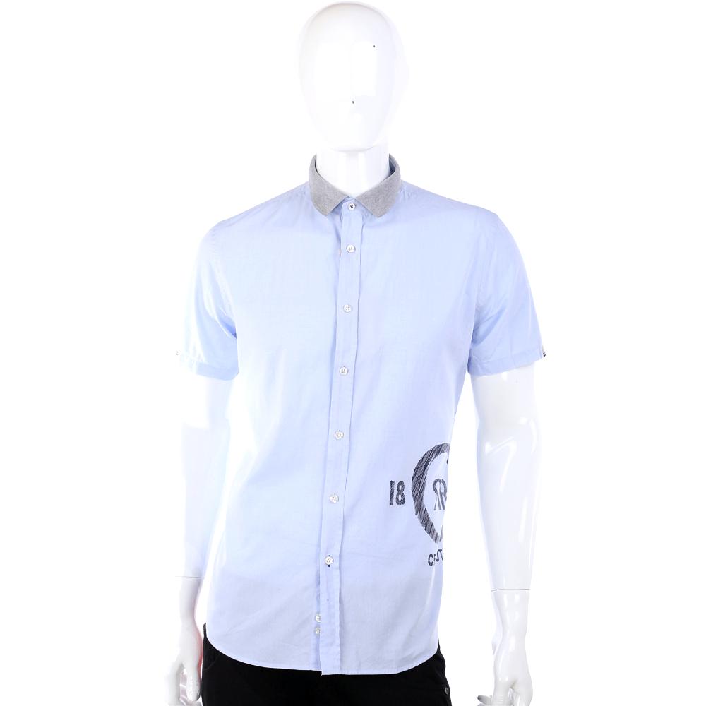 CERRUTI 1881 水藍色配色拼接圖騰短袖襯衫